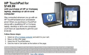 HP TouchPad 32GB $149.99 in Best Stores with HP Computer Buy 2Day