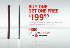 Verizon Droid RAZR Buy One Get On Free Deal