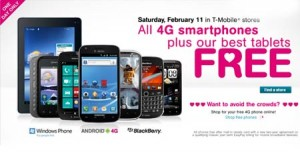 T Mobile Saturday of Love & Free 4G Smartphones: Samsung Galaxy S II, Exhibit II, HTC Amaze and Nokia Lumia 700