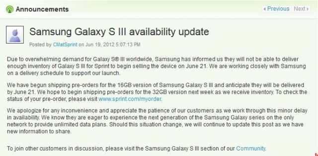 Samsung Galaxy S3 (S III) Release Date for Sprint Delayed   Best Cheapest Deals